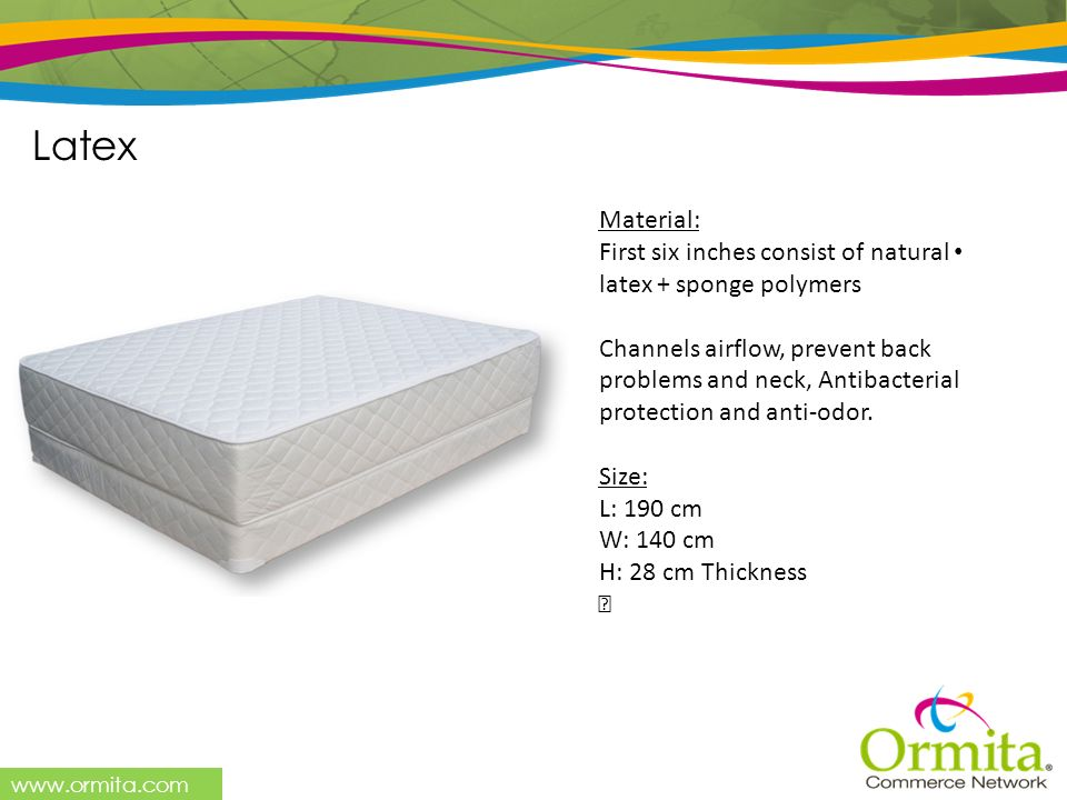 Latex Material: First six inches consist of natural latex + sponge polymers.