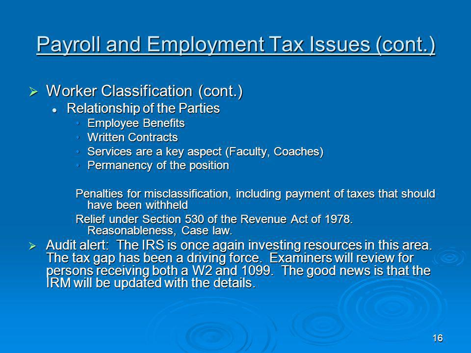 Payroll and Employment Tax Issues (cont.)