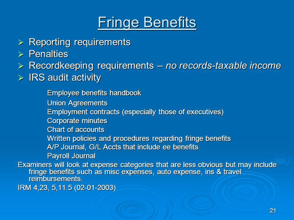 Fringe Benefits Employee benefits handbook Reporting requirements