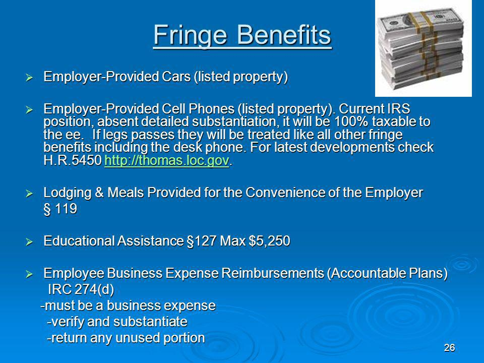 Fringe Benefits Employer-Provided Cars (listed property)