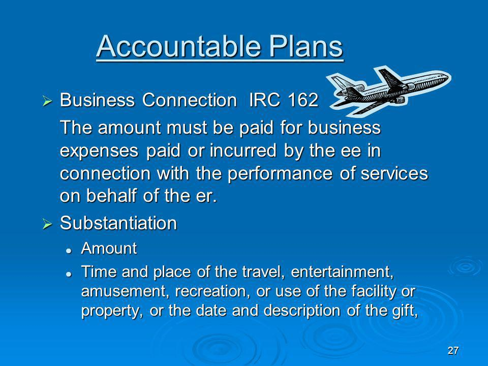 Accountable Plans Business Connection IRC 162