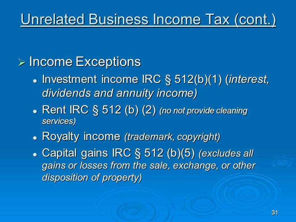 Unrelated Business Income Tax (cont.)