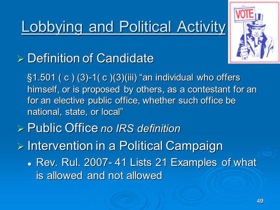 Lobbying and Political Activity