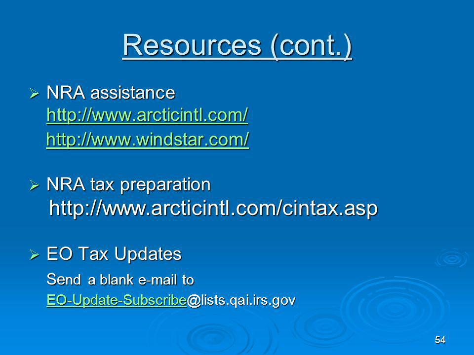 Resources (cont.)   NRA assistance