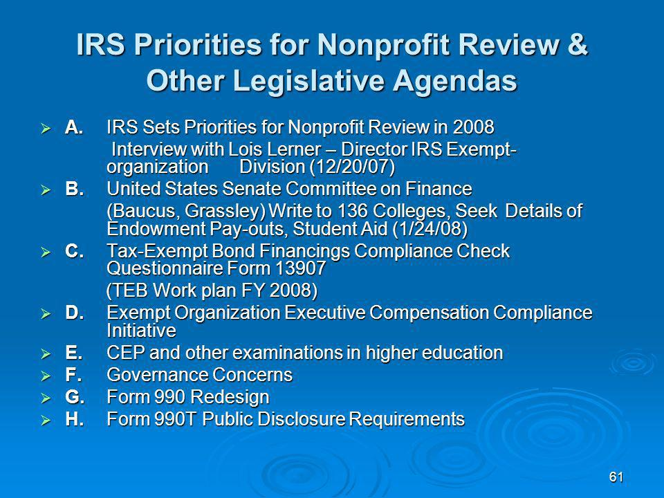IRS Priorities for Nonprofit Review & Other Legislative Agendas