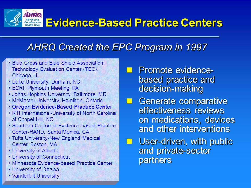 Evidence-Based Practice Centers