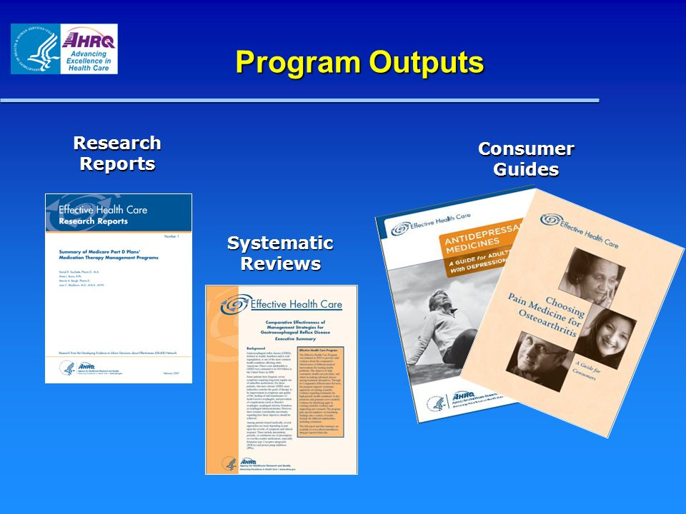 Program Outputs Research Reports Consumer Guides Systematic Reviews