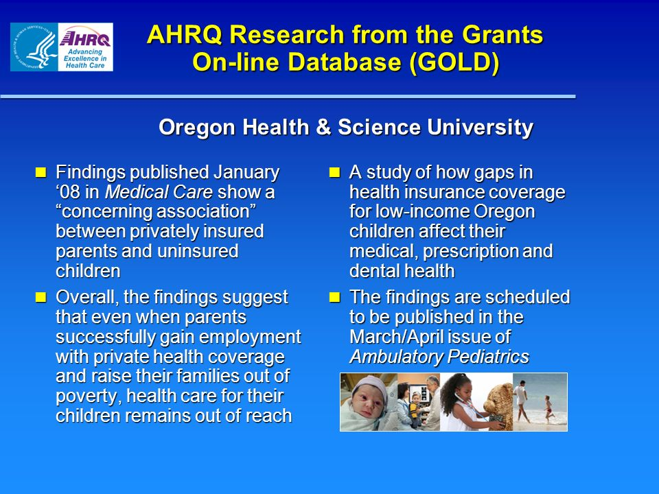 AHRQ Research from the Grants On-line Database (GOLD)