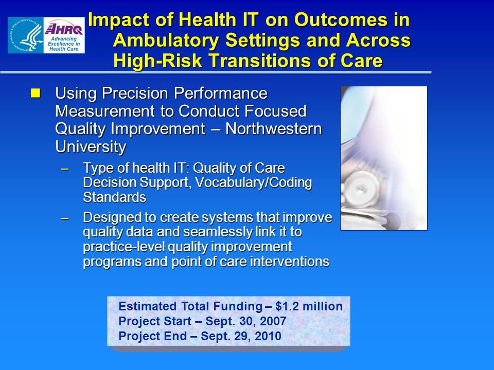 Impact of Health IT on Outcomes in Ambulatory Settings and Across High-Risk Transitions of Care