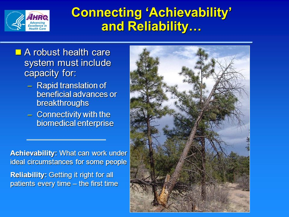 Connecting 'Achievability' and Reliability…