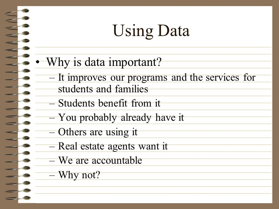 Using Data Why is data important