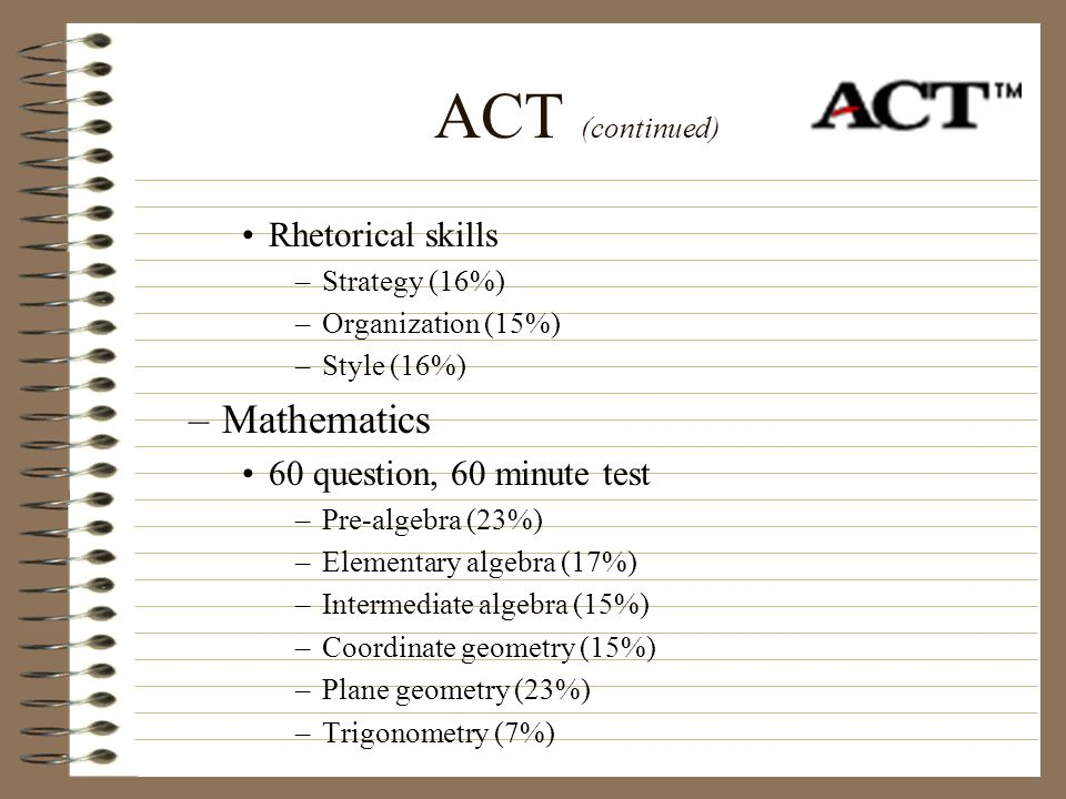 ACT (continued) Mathematics Rhetorical skills