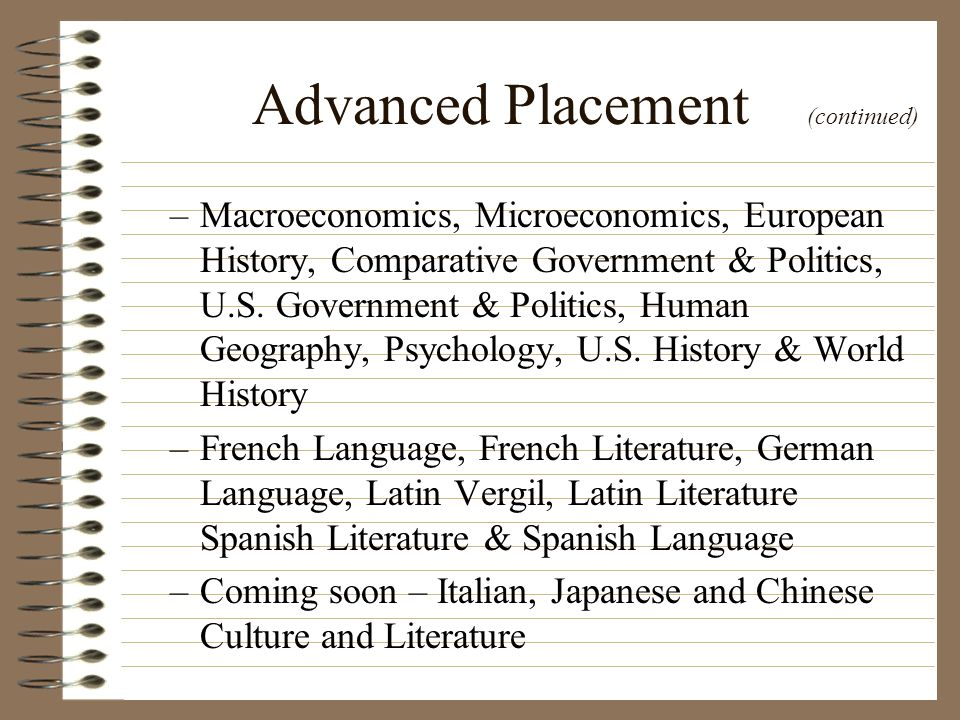 Advanced Placement (continued)