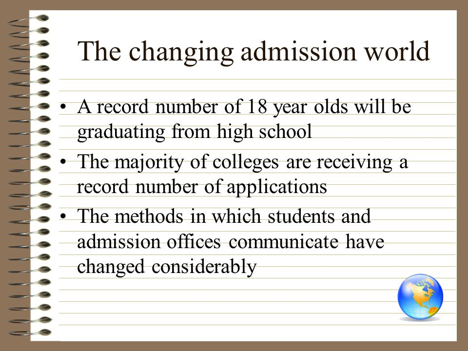 The changing admission world