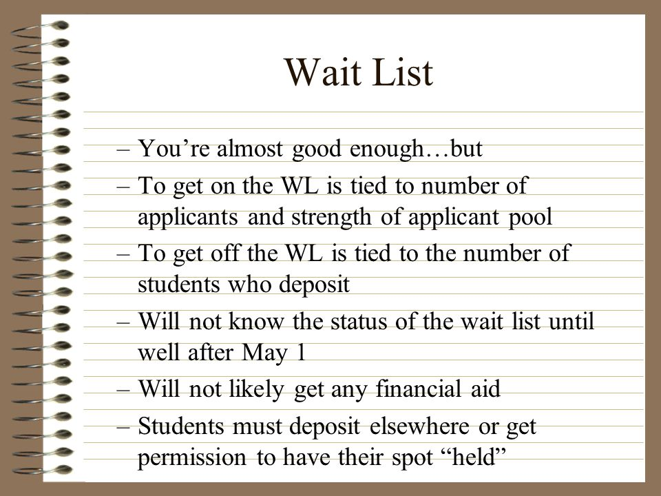 Wait List You're almost good enough…but