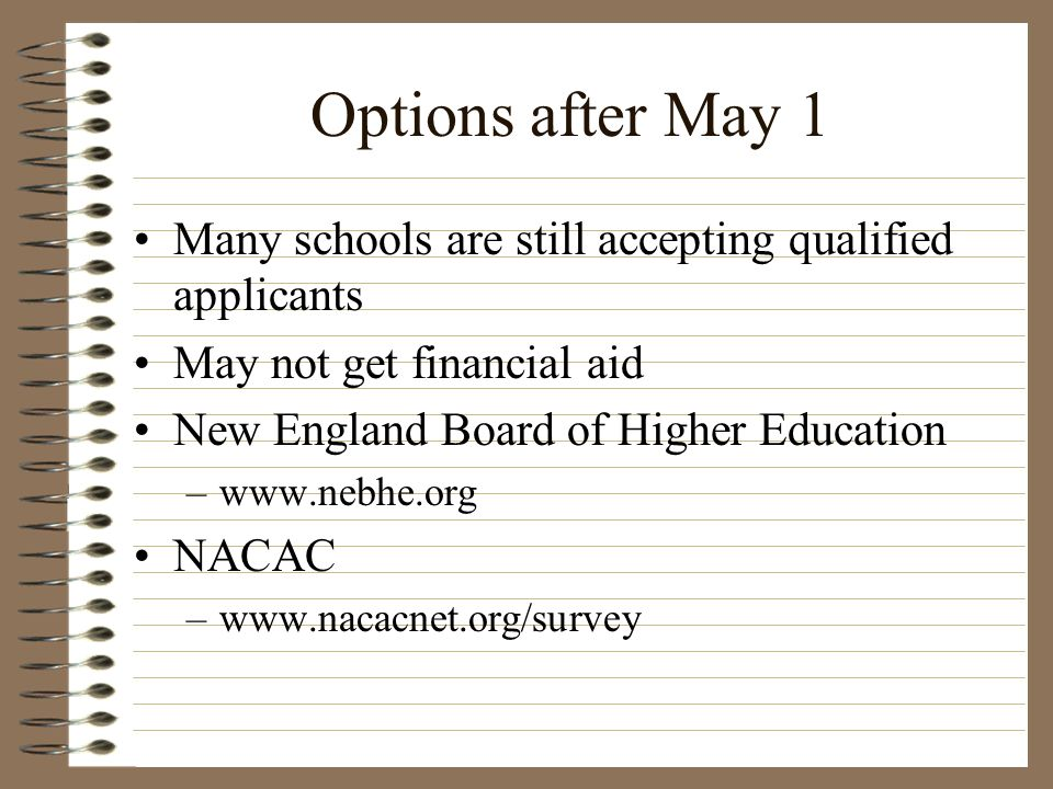 Options after May 1 Many schools are still accepting qualified applicants. May not get financial aid.