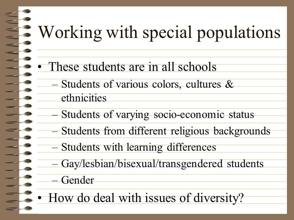 Working with special populations