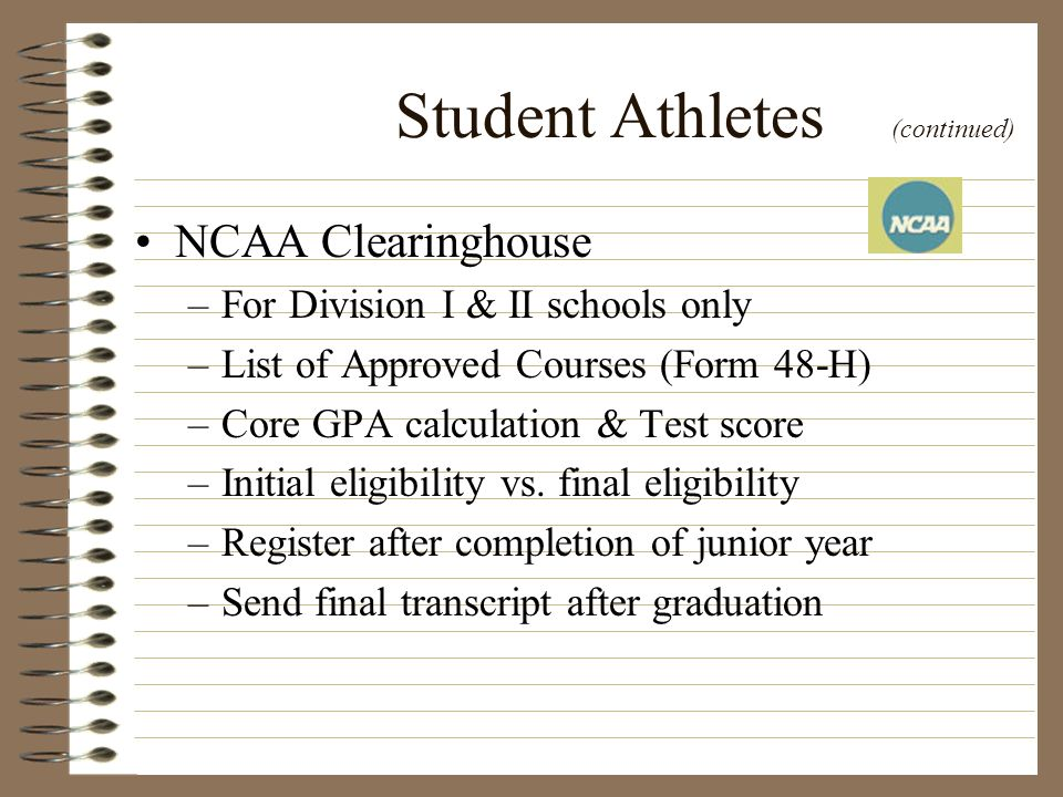 Student Athletes (continued)