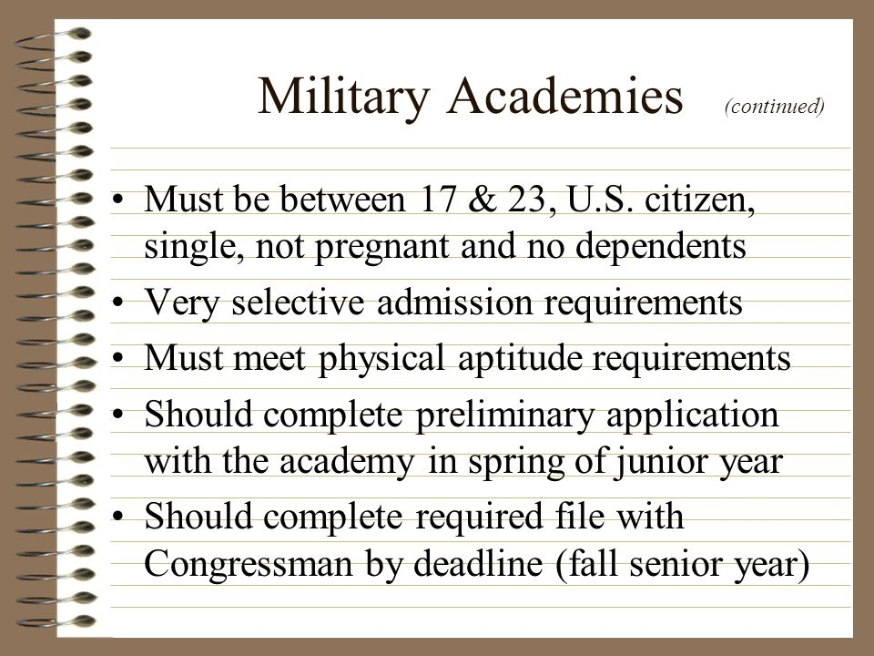 Military Academies (continued)