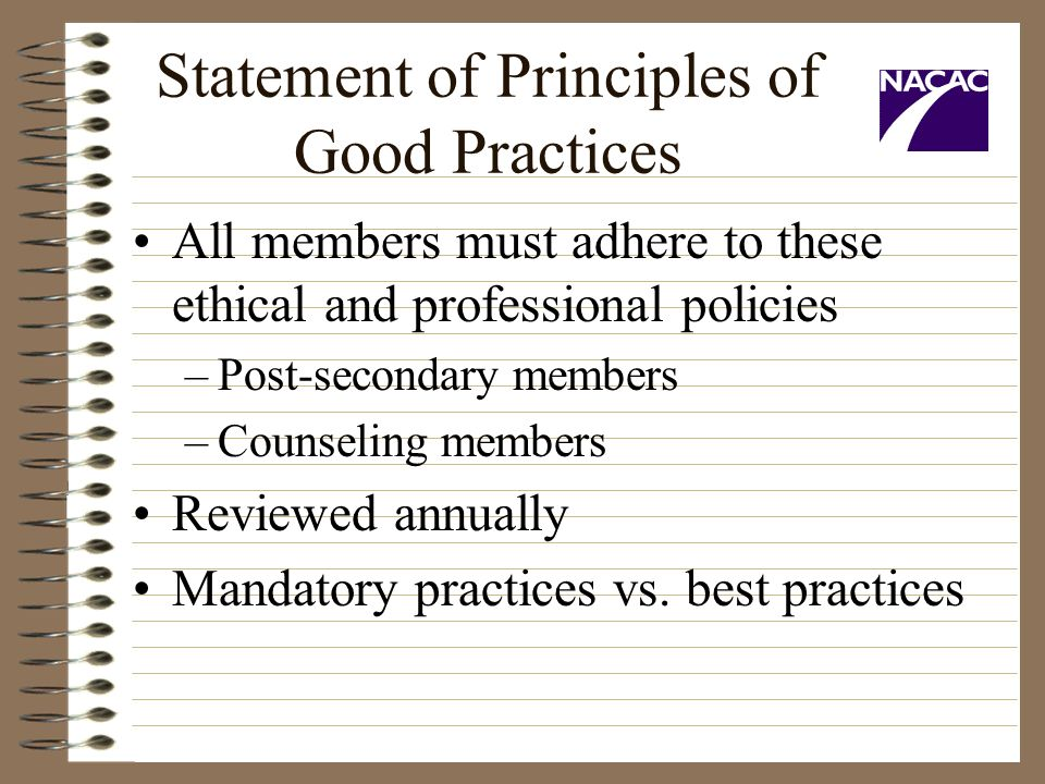 Statement of Principles of Good Practices