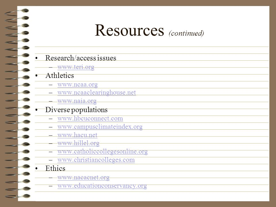 Resources (continued)