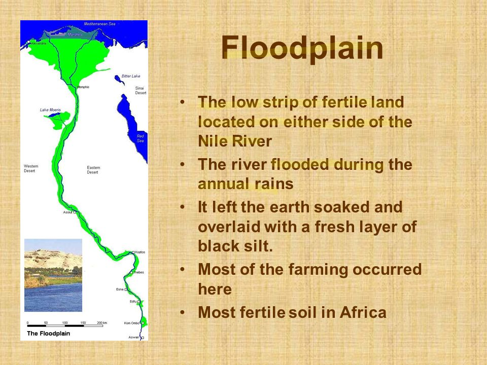 Floodplain The low strip of fertile land located on either side of the Nile River. The river flooded during the annual rains.