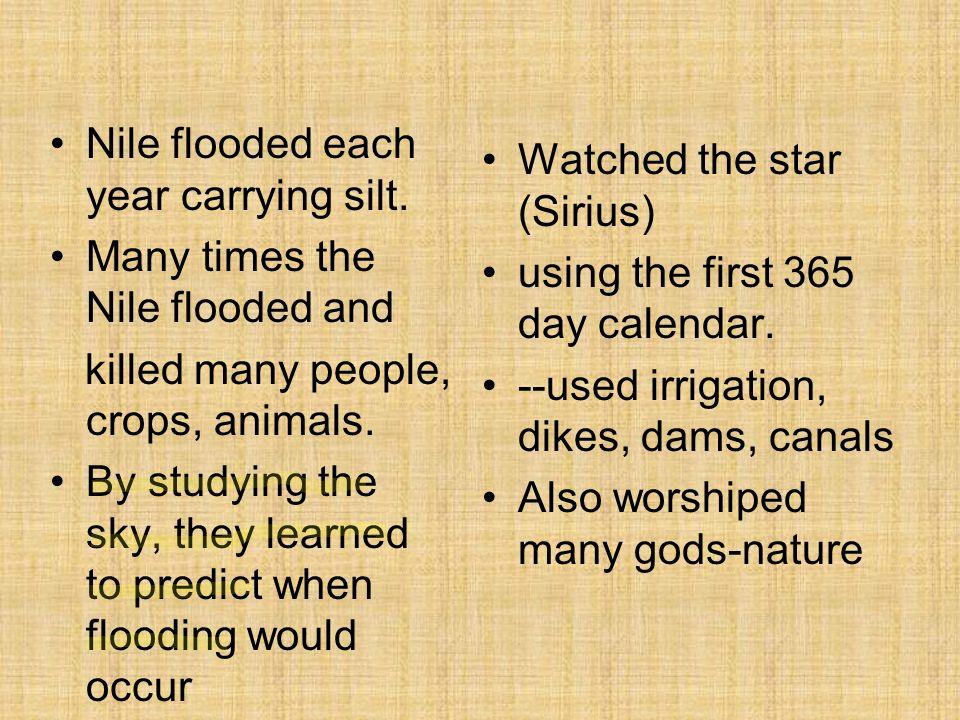 Nile flooded each year carrying silt.