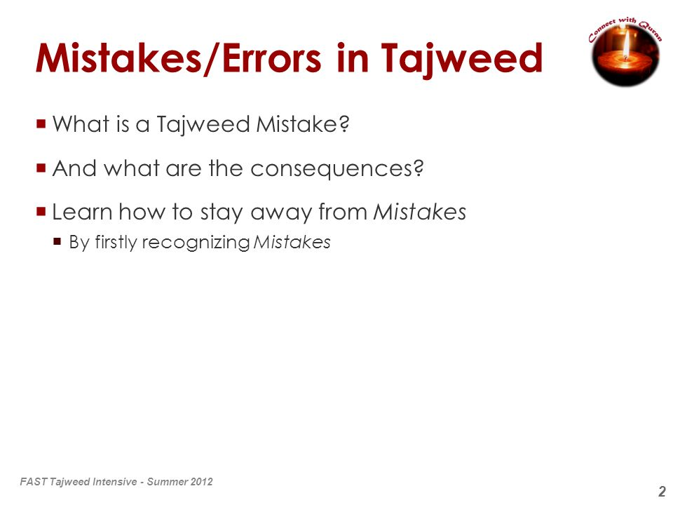 Mistakes/Errors in Tajweed