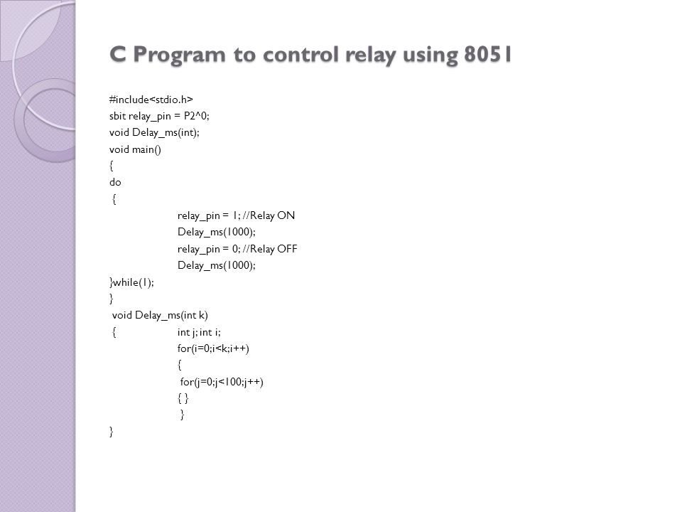 C Program to control relay using 8051