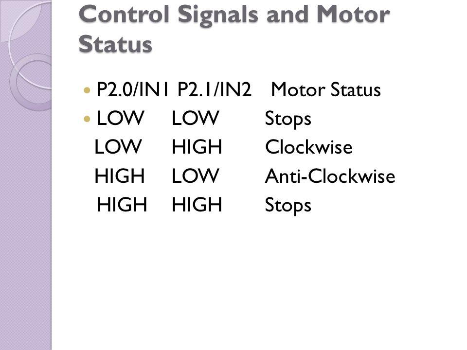 Control Signals and Motor Status