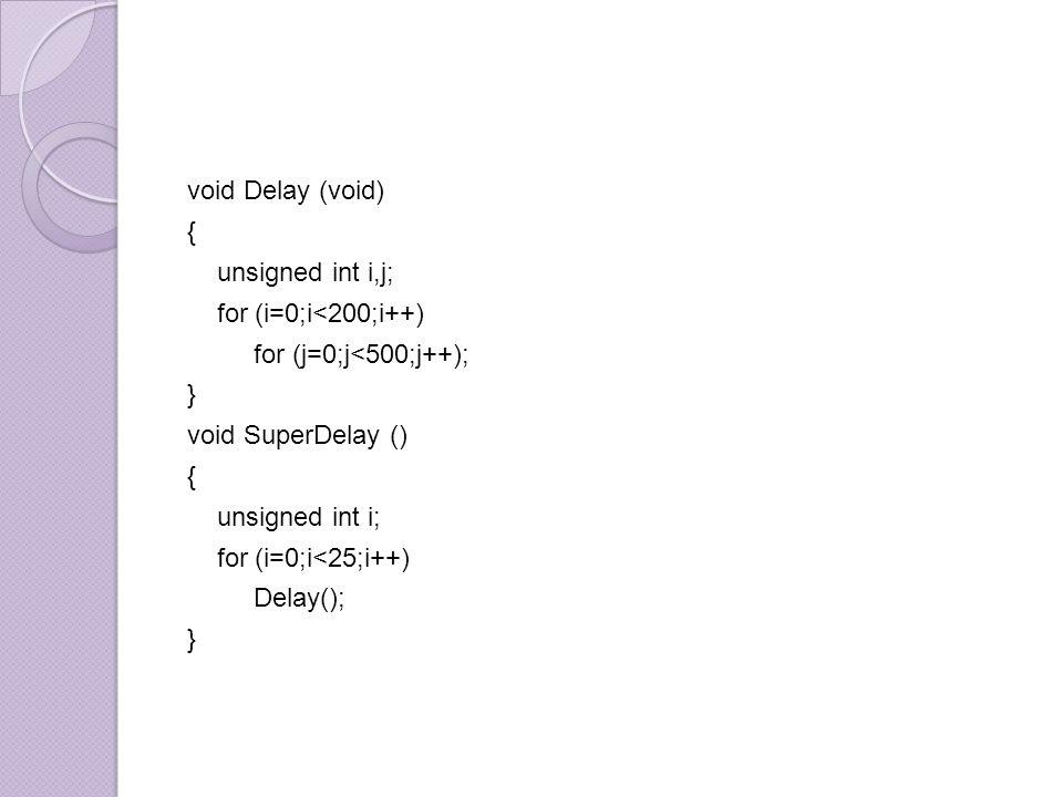 void Delay (void) { unsigned int i,j; for (i=0;i<200;i++) for (j=0;j<500;j++); }