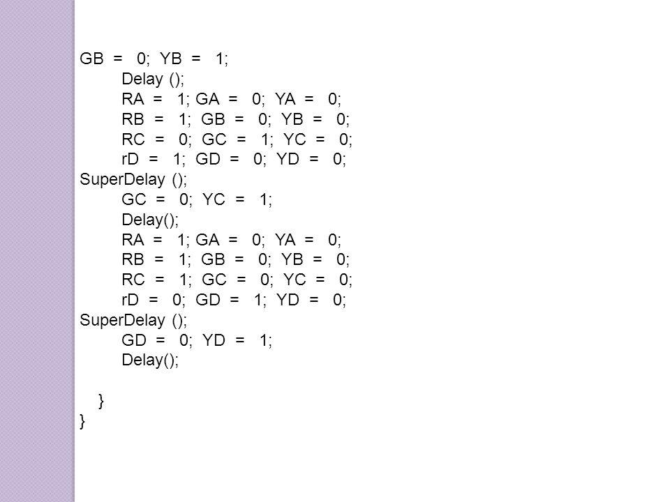GB = 0; YB = 1; Delay (); RA = 1; GA = 0; YA = 0; RB = 1; GB = 0; YB = 0;