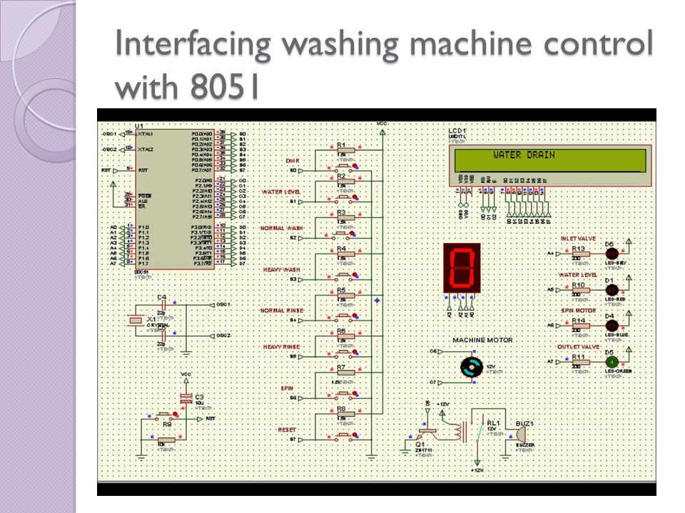 Interfacing washing machine control with 8051