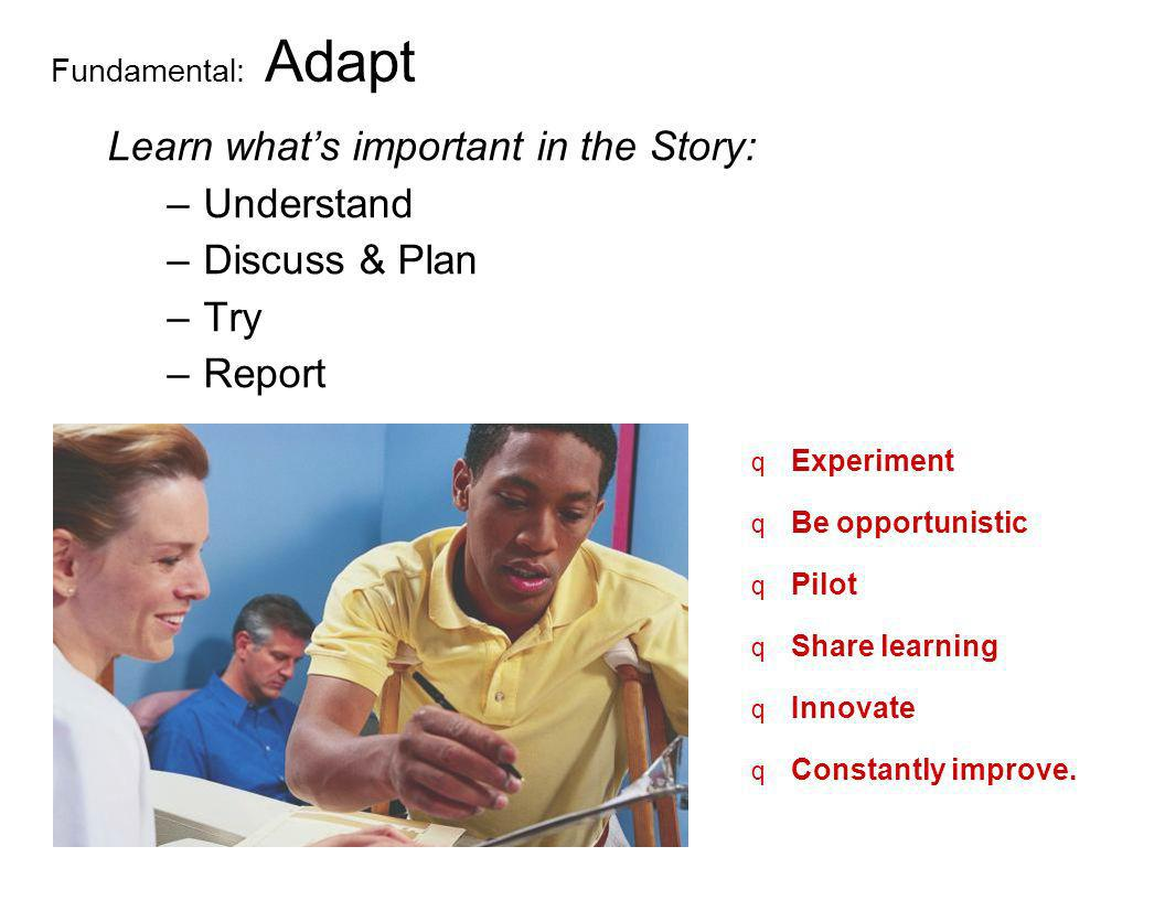 Learn what's important in the Story: Understand Discuss & Plan Try