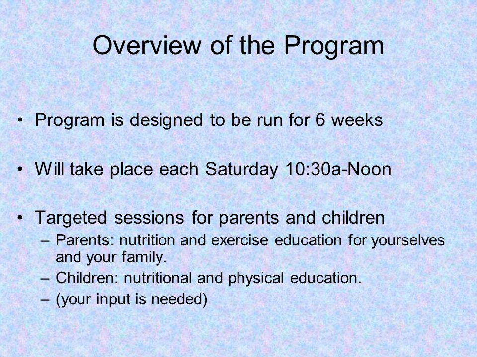 Overview of the Program