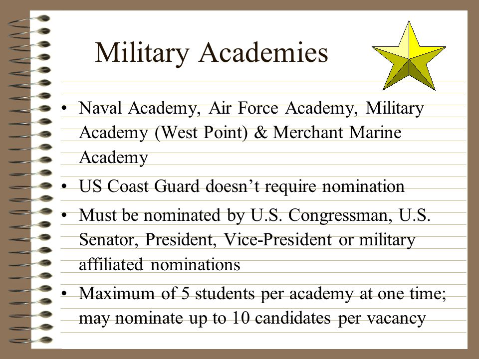 Military Academies Naval Academy, Air Force Academy, Military Academy (West Point) & Merchant Marine Academy.