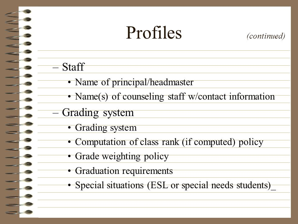 Profiles (continued) Staff Grading system Name of principal/headmaster
