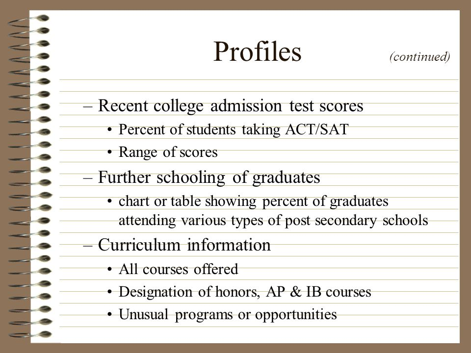 Profiles (continued) Recent college admission test scores