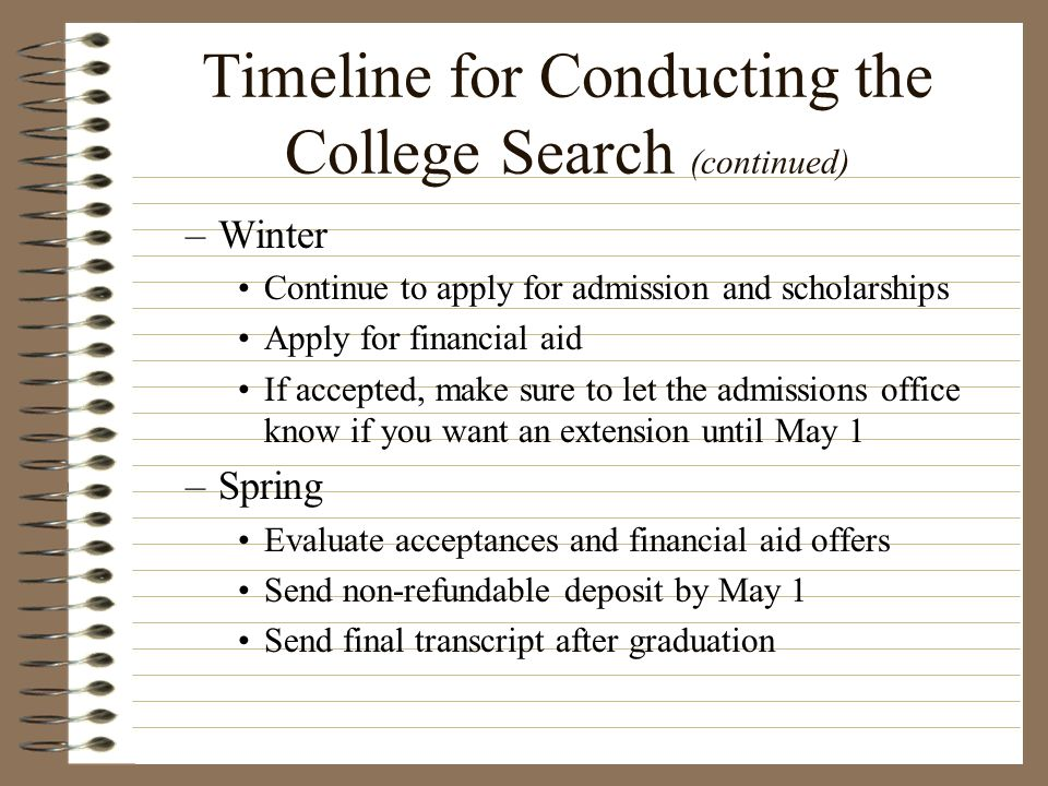 Timeline for Conducting the College Search (continued)