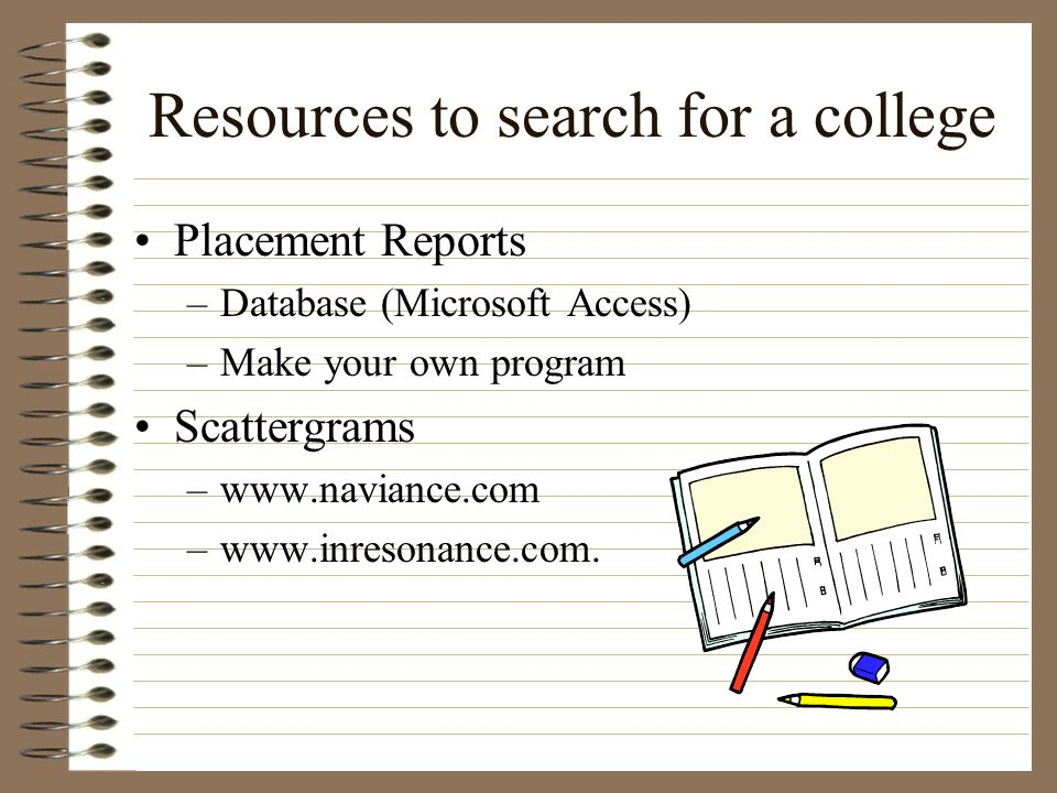 Resources to search for a college