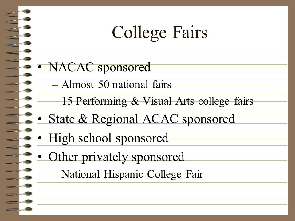 College Fairs NACAC sponsored State & Regional ACAC sponsored