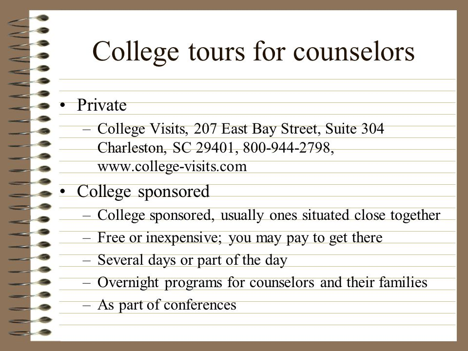 College tours for counselors