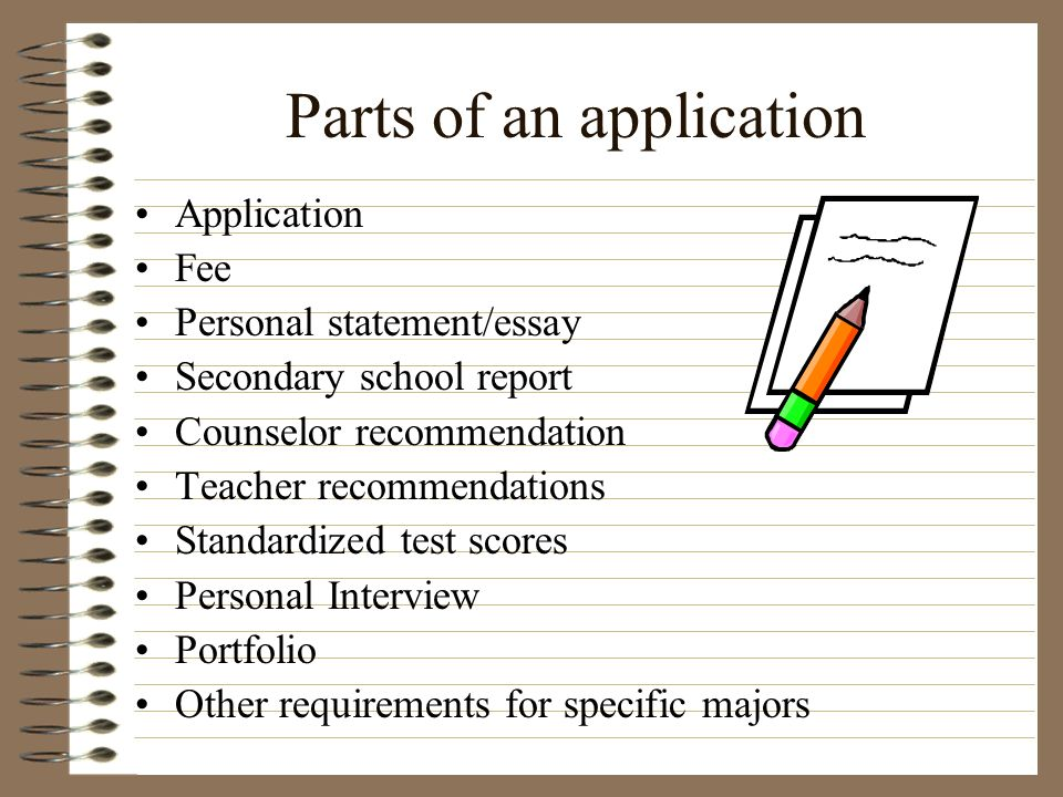 Parts of an application