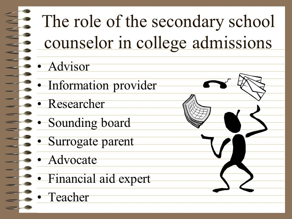 The role of the secondary school counselor in college admissions