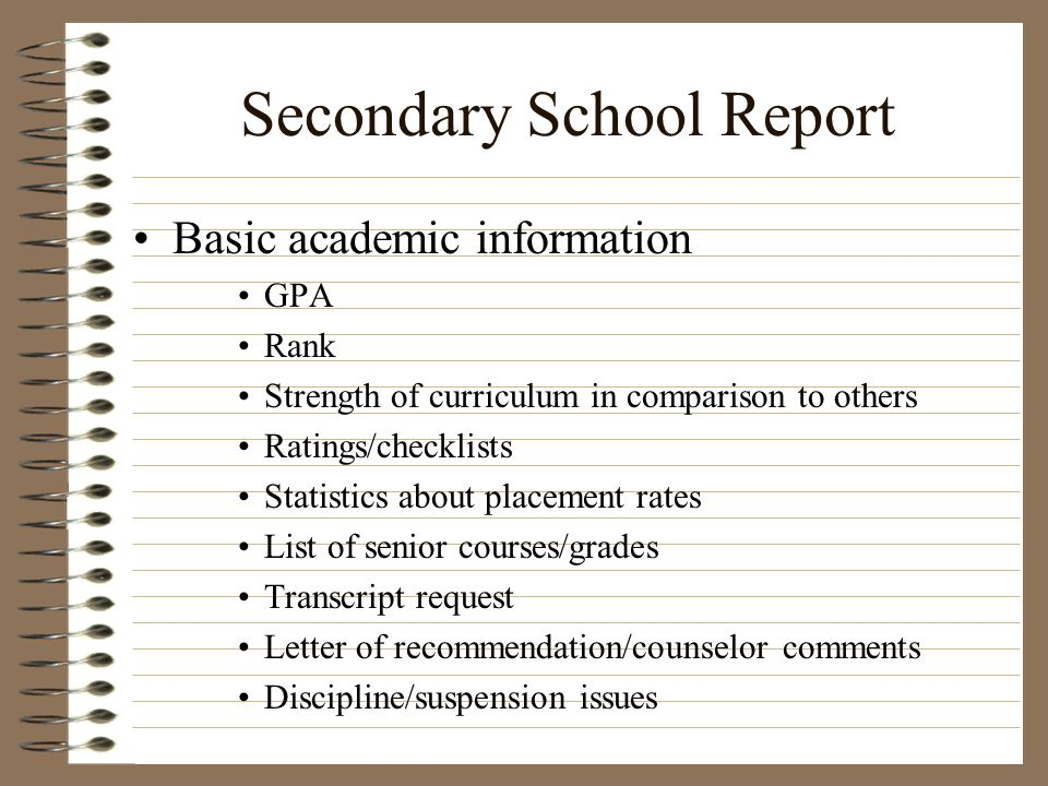 Secondary School Report