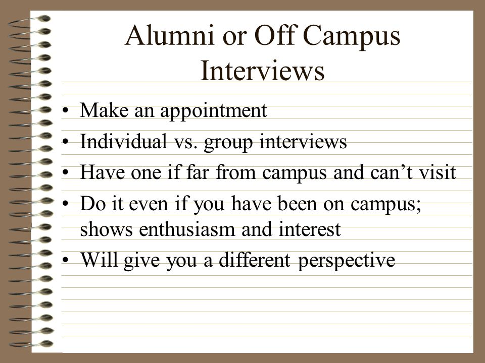 Alumni or Off Campus Interviews