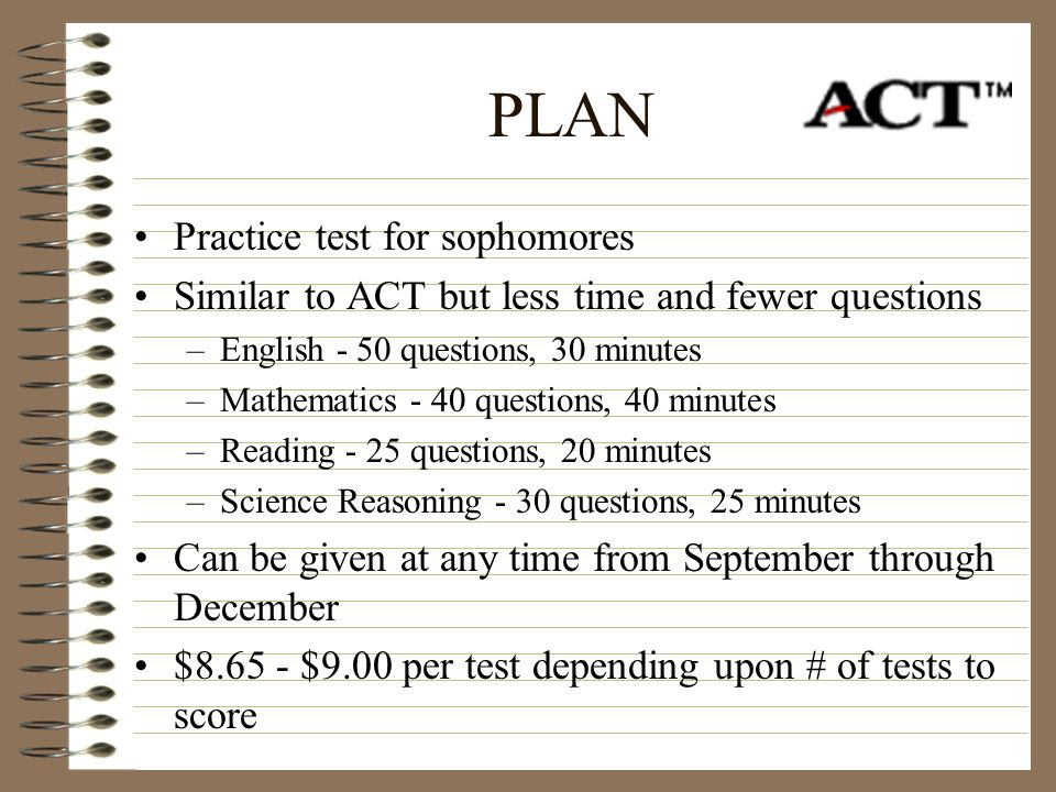 PLAN Practice test for sophomores
