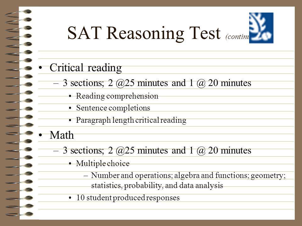 SAT Reasoning Test (continued)