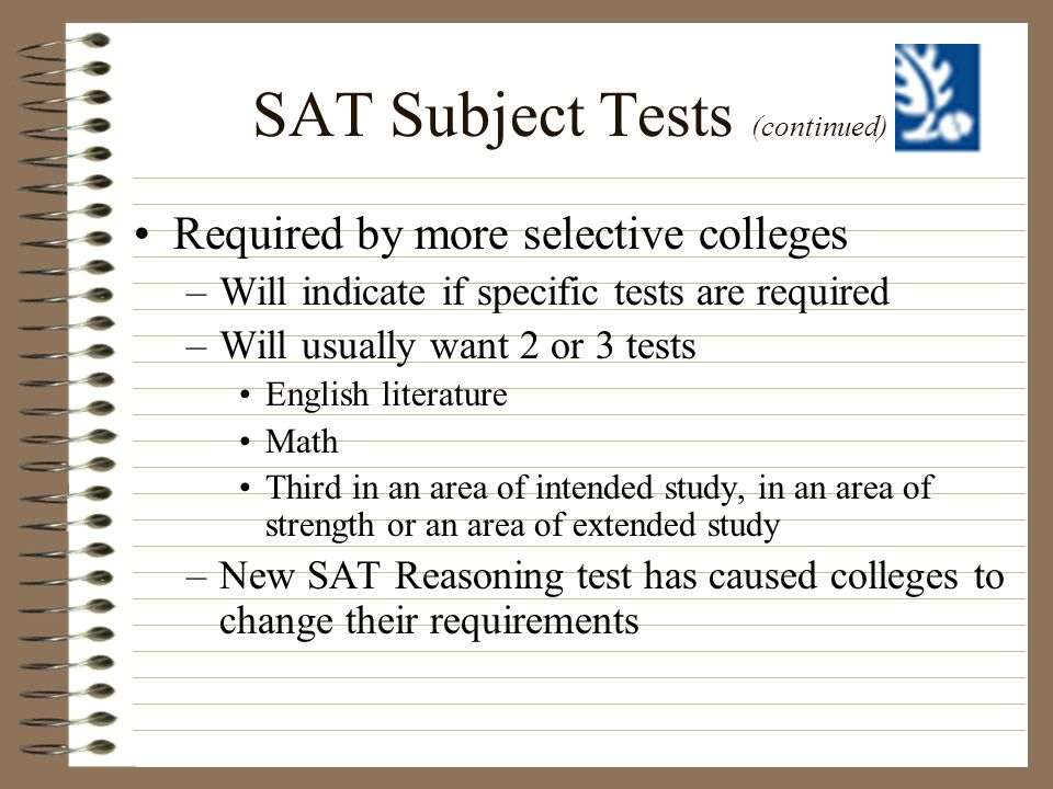 SAT Subject Tests (continued)