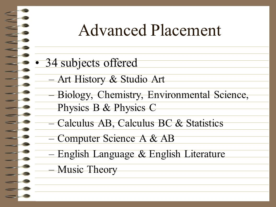 Advanced Placement 34 subjects offered Art History & Studio Art